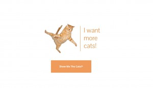 Landing page of I want more cats app